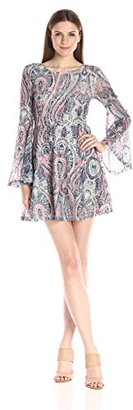 Buffalo David Bitton Women's Swing-Hopper Fit and Flare Paisely Printed Lace Dress with Open Back and Flared Bell Sleeves $54.93 thestylecure.com