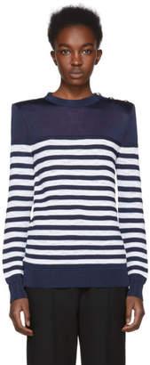 Balmain Navy and White Marine Striped Sweater