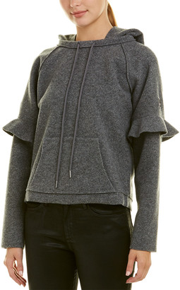 Armani Exchange Cropped Wool-Blend Hoodie