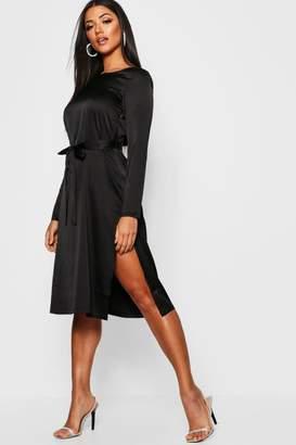 boohoo Satin Long Sleeved Tie Waist Midi Slip Dress