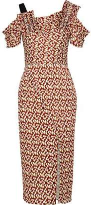 Jason Wu Cold-Shoulder Pleated Printed Silk-Chiffon Dress