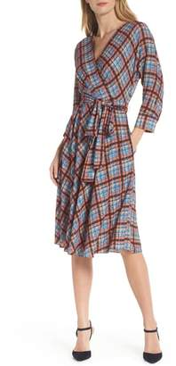 Eliza J Plaid Faux Wrap Dress