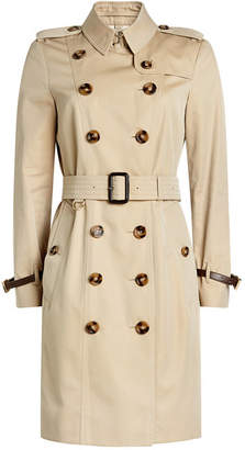 Burberry Cotton Trench Coat with Leather
