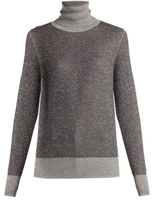 Joseph Metallic Wool Blend Roll Neck Sweater - Womens - Grey