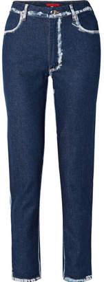 Eckhaus Latta El Two-tone High-rise Straight-leg Jeans - Dark denim