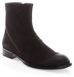 John Varvatos Waverly Asymmetrical-Zip Suede Boots $328 thestylecure.com