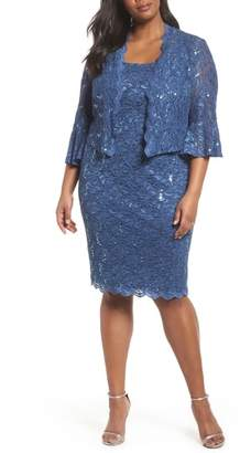 Alex Evenings Sequin Lace Sheath Dress with Jacket