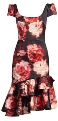 David Meister Short-Sleeve Ruffle Midi Dress