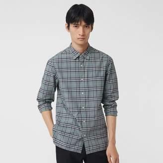 Burberry Check Cotton Shirt , Size: M, Blue