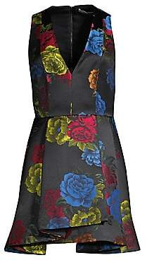 Alice + Olivia Women's Tanner Asymmetric Floral Mini A-Line Dress - Size 0