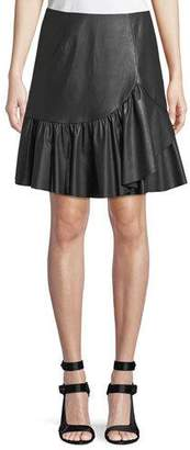 Rebecca Taylor Vegan Leather Faux-Wrap A-Line Skirt