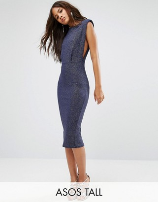 ASOS Tall ASOS TALL Low Armhole Glitter Midi Bodycon Dress $49 thestylecure.com