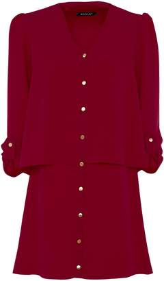 Manley - Layla Tiered Shirt Dress Burgundy
