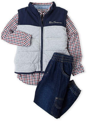 Ben Sherman Boys 4-7) 3-Piece Puffer Vest & Jeans Set
