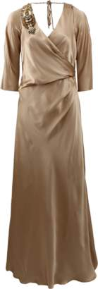Alberta Ferretti Three-Quarter Sleeve Gown