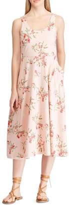 Chaps Floral Cotton Jersey Fit--Flare Dress