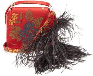 Marques Almeida Marques'almeida - Feather Strap Floral Jacquard Cross Body Bag - Womens - Red Multi