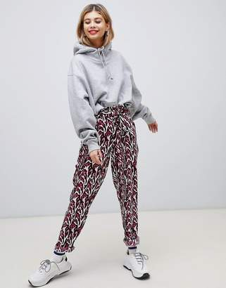 Noisy May printed paperbag waist trouser