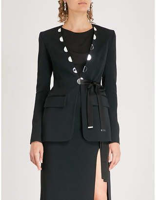 David Koma Mirror-embellished cady jacket