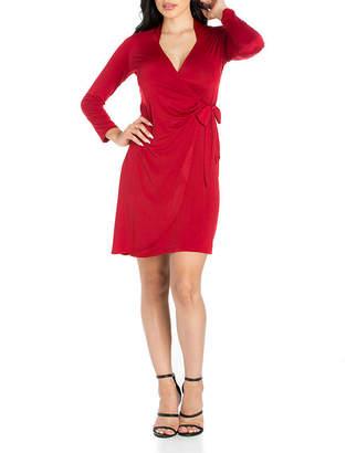 24/7 Comfort Apparel Long Sleeve Wrap Dress