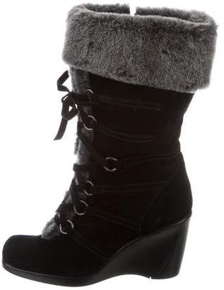 Stuart Weitzman Lace-Up Wedge Boots