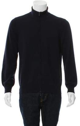 Loro Piana Suede-Trimmed Cashmere Cardigan