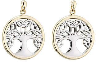Celtic Solvar Two-Tone Family Tree Drop Earrings, 14K