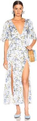 Les Rêveries Deep Neck Petal Sleeve Dress in Victoria Rose White | FWRD