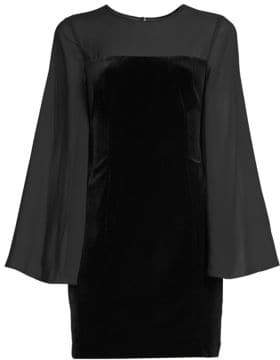 Aidan Mattox Illusion Sleeve Velvet Mini Dress