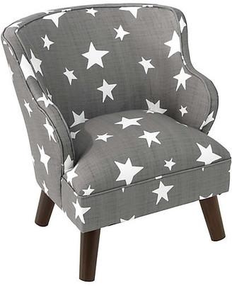 One Kings Lane Kira Kids' Accent Chair - Gray/White Stars Linen
