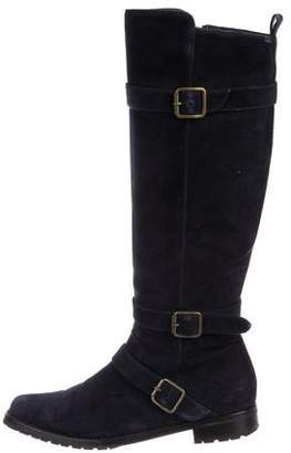 Manolo Blahnik Suede Flat Boots