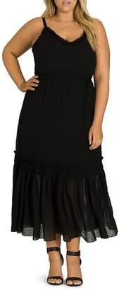 City Chic Plus Flocked Dot-Print Maxi Dress