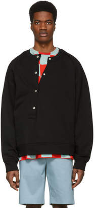 Jil Sander Black Asymmetrical Button Sweatshirt