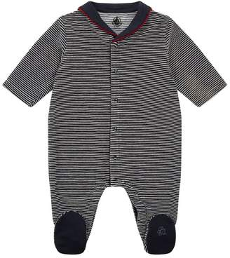 Petit Bateau Striped Bow All-In-One