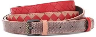 Bottega Veneta Intrecciato snakeskin-trimmed belt