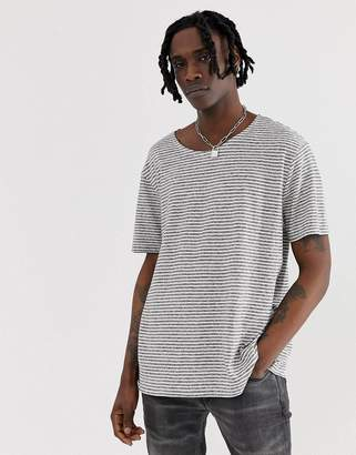 AllSaints oversized stripe t-shirt with linen mix