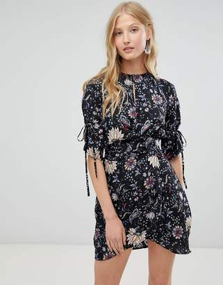 Love & Other Things Floral Print Tie Dress