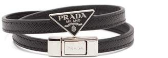 Prada Wraparound Leather Bracelet - Mens - Black