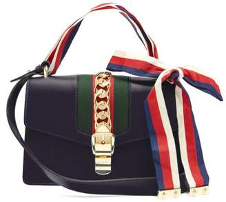 Gucci Sylvie Leather Shoulder Bag - Womens - Navy