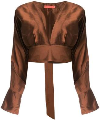 Manning Cartell plunge neck cropped blouse