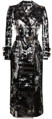 Balmain news print PVC trench coat