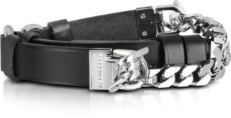 DSQUARED2 Babe Wire Black Leather and Silver Tone Metal Women's Belt