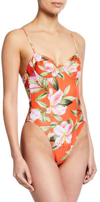 0d280cfc144 Mara Hoffman Desiree High-Leg Floral One-Piece Swimsuit with Underwire