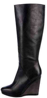 Calvin Klein Collection Leather Wedged Knee-High Boots