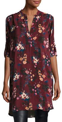 Tolani Skyler Split-Neck Floral-Print Silk Tunic