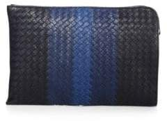 Bottega Veneta Striped Woven Leather Pouch
