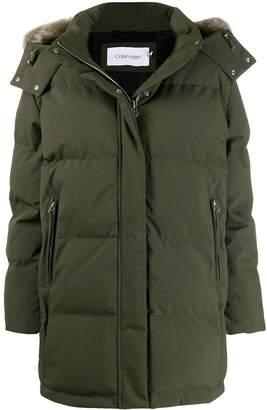 Calvin Klein faux-fur hooded jacket