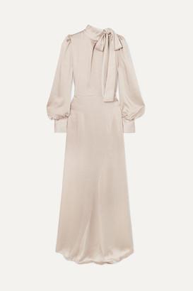 Rotate by Birger Christensen Tie-neck Satin Maxi Dress