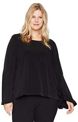 Calvin Klein Women's Plus Size Long Sleeve Top with Ruffles