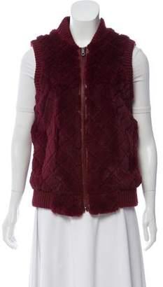 Jocelyn Knit Rabbit Fur Vest w/ Tags